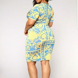 Dresses - Blue and yellow dress